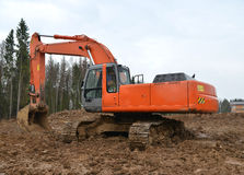 Excavator on construction site Royalty Free Stock Photos