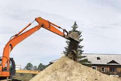 Excavator at the construction site. Royalty Free Stock Photo