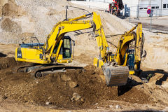 Excavator on construction site during earthworks Royalty Free Stock Photos