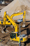 Excavator on construction site during earthworks Stock Image