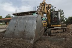 Excavator on construction site stock photos