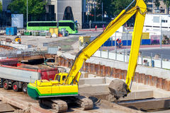 Excavator on construction site. Royalty Free Stock Photos