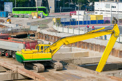 Excavator on construction site. Royalty Free Stock Images