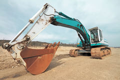 Excavator on construction site Royalty Free Stock Images