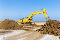 Excavator in construction site stock image
