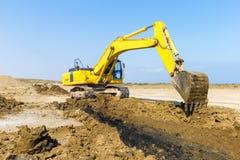 Excavator in construction site stock photos