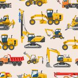 Excavator for construction vector digger or bulldozer excavating with shovel and excavation machinery industry. Illustration set of constructive vehicles royalty free illustration
