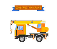Excavator crane van grader concrete scraper truck loader tow wrecker truck web infographic collection vector. Royalty Free Stock Images