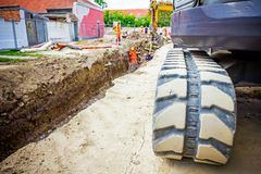 Excavator crawler belt Stock Images