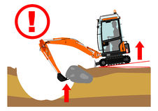 The excavator dangers Stock Photos