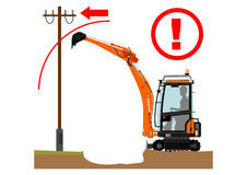 The excavator dangers Royalty Free Stock Photography