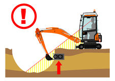 The excavator dangers Stock Images