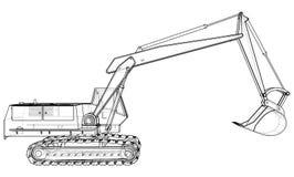 excavator Desenho abstrato Fio-quadro Formato EPS10 Vetor criado de 3d ilustração stock
