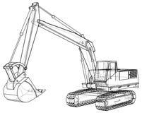 excavator Desenho abstrato Fio-quadro Formato EPS10 Vetor criado de 3d ilustração royalty free