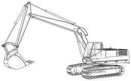excavator Desenho abstrato Ilustração de seguimento de 3d ilustração do vetor