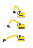 Excavator with different position of the bucket Royalty Free Stock Photo
