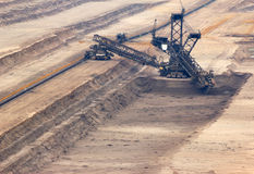 Excavator digging lignite in open-cast mine Royalty Free Stock Photos