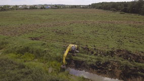 Excavator With Bucket Digging A Trench Stock Video - Video