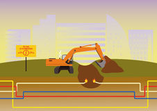 The excavator digs the trench in the wrong place. Royalty Free Stock Photography