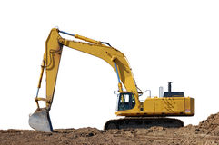 Excavator and dirt, with path Royalty Free Stock Images