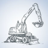 Excavator drawing isolated on white background Stock Images
