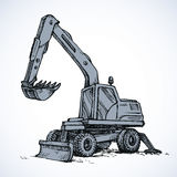Excavator drawing  on white background Stock Photo