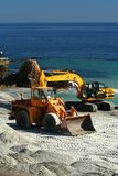 Excavator / dredge at work Stock Photos