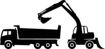 Excavator and dump truck. Silhouette excavator and dump truck, vector illustration Stock Image