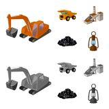 Excavator, dumper, processing plant, minerals and ore.Mining industry set collection icons in cartoon,monochrome style. Vector symbol stock illustration Stock Photography