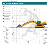 Excavator for earthwork operations blueprint Royalty Free Stock Photos