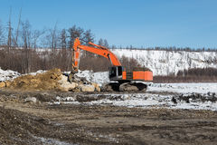 Excavator with fang-ripper Stock Photography