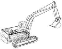 excavator Fio-quadro Formato EPS10 Rendição do vetor de 3d ilustração do vetor