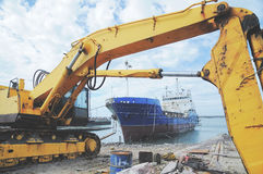 Excavator in the Fish Harbor, ChuWei  Royalty Free Stock Photo