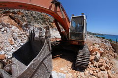 Excavator,fisheye Royalty Free Stock Images