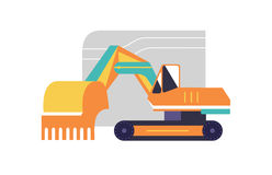 Excavator flat style icon,  illustration Royalty Free Stock Photography