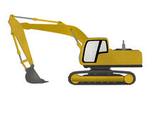 Excavator form recycled paper cut isolated on whit Stock Photos