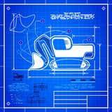 Excavator front shovel bucket icon like blueprint drawing Stock Photos