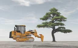 Excavator in front of a tree. Royalty Free Stock Images