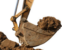 Excavator with a great bunch of land Royalty Free Stock Photography
