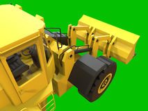 Excavator on a green uniform background. Backhoe loader. 3d illustration. Stock Photo
