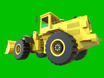 Excavator on a green uniform background. Backhoe loader. 3d illustration. Royalty Free Stock Image