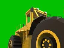 Excavator on a green uniform background. Backhoe loader. 3d illustration. Stock Photo