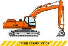 Excavator. Heavy construction machine. Vector Royalty Free Stock Photography