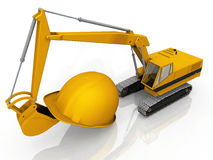 Excavator and helmet. The excavator and the helmet Stock Photos