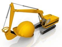 Excavator and helmet Stock Photos