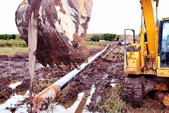 Excavator Holding Pipeline on Swamp royalty free stock images