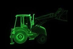 Excavator in Hologram Wireframe Style. Nice 3D Rendering Stock Image