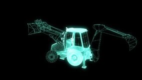 Excavator in Hologram Wireframe Style. Nice 3D Rendering stock video