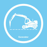 Excavator with hydraulic hammer Royalty Free Stock Images