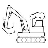 Excavator icon, outline style Royalty Free Stock Image